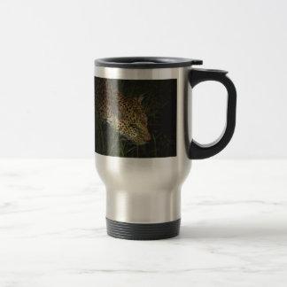 Leopard drinking in the wild safari mugs & cups