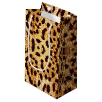 leopard elegant fur small gift bag