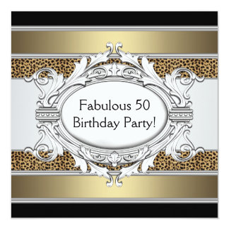 Leopard Fabulous 50th Womans 50th Birthday Party Custom Invite