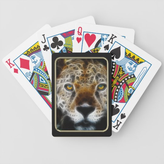 Leopard Face Fractal Art Playing Cards
