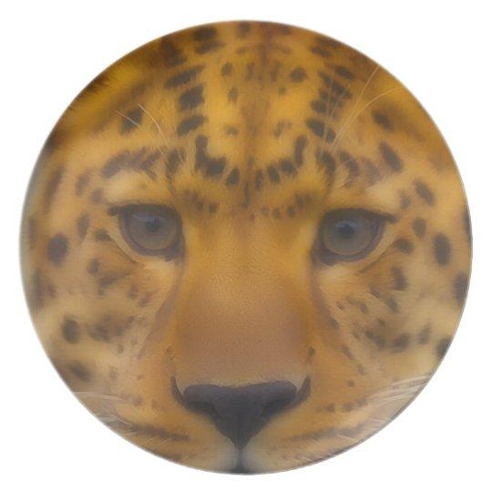 Leopard Face Melamine Plate