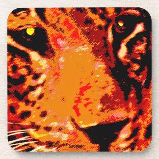 Leopard Face, Orange (1) Beverage Coaster