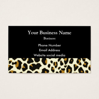 Leopard fashion print pattern on black business card