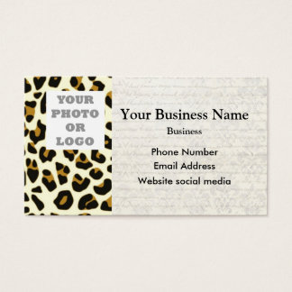 Leopard fashion print pattern photo template business card