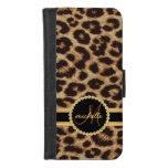 Leopard Faux Gold Bling Ladies Monogram iPhone 8/7 Wallet Case