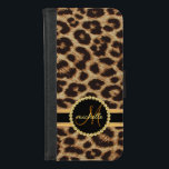 "Leopard Faux Gold Bling Ladies Monogram iPhone 8/7 Wallet Case<br><div class=""desc"">Elegant faux leopard skin with beautiful black and gold name band. Chic and stylish fashion for sophisticated ladies, but trendy enough to impress the cool modern sassy girl on your gift list. Click Customize It to change the font color, style, or size. Style shown: Leopard/cheetah spotted skin gold jeweled monogram...</div>"