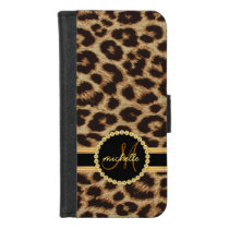 Leopard Faux Gold Bling Ladies Monogram iPhone 8/7 Wallet Case