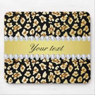 Leopard Faux Gold Glitter and Foil Black Mouse Pad