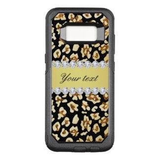 Leopard Faux Gold Glitter and Foil Black OtterBox Commuter Samsung Galaxy S8 Case