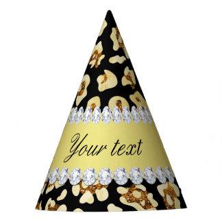 Leopard Faux Gold Glitter and Foil Black Party Hat
