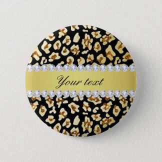Leopard Faux Gold Glitter and Foil Black Pinback Button
