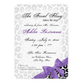 Leopard Final Fling Bachelorette Party Purple Silv 5x7 Paper Invitation Card