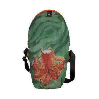Leopard Flower On Green Zebra Design Courier Bags