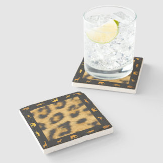 Leopard Fur African Border - Marble Stone Coaster
