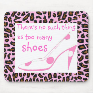 Leopard Fur and Designer High Heel ShoesPink Mouse Pad