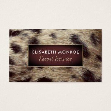 Professional Business Leopard Fur, Escort Service Business Card