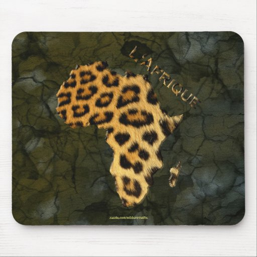 Leopard Fur Map of AFRICA Wildlife Series Mouse Pad