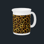 """Leopard Fur Print Animal Pattern Drink Pitcher<br><div class=""""desc"""">This trendy pitcher features a splotched leopard print pattern with black animal spots on an orange-yellow-gold fur background. Bring out the wild cat in you with this cool feline design. It&#39;s the perfect bold,  original look for animal lovers. Check our shop for matching items.</div>"""