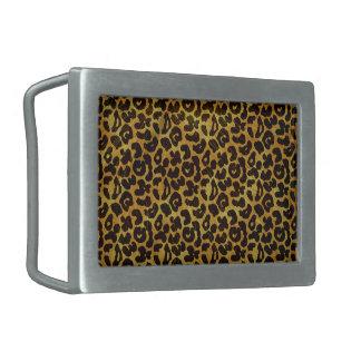Leopard Fur Print Animal Pattern Rectangular Belt Buckle
