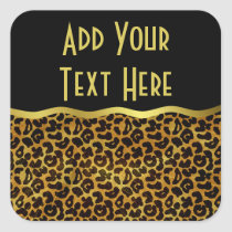 Leopard Fur Print Animal Pattern Square Sticker