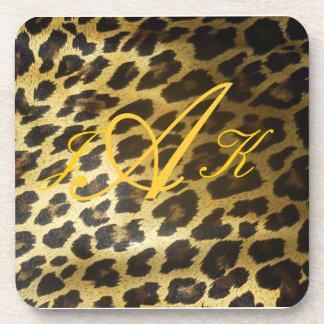 Leopard Fur Print Monogram Drink Coaster