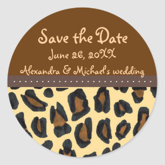 Leopard Fur Save the Date Round Stickers