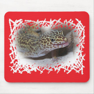 Leopard Gecko Lizard Tongue Sticking Out Mousepad