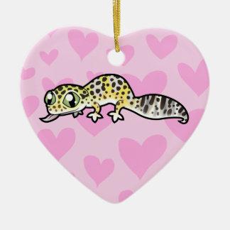 Leopard Gecko Love Double-Sided Heart Ceramic Christmas Ornament