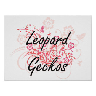 Leopard Geckos with flowers background Poster