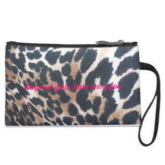 leopard girls have more fun suede wristlet wallet