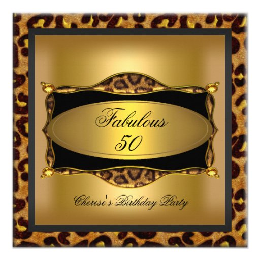 Leopard Gold Black Birthday Party 50th Personalized Invites