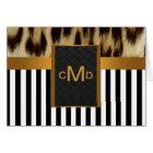 Leopard Gold Black White Stripe Monogram ThankYou Card