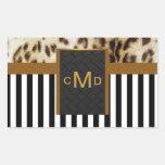 Leopard Gold Black & White Stripes Monogram Seal Sticker