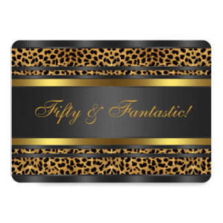 Leopard Gold Black Womans 50th Birthday Party 5x7 Paper Invitation Card
