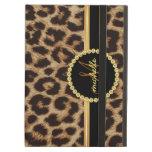 Leopard Gold Bling Monogram iPad Air Case