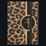 "Leopard Gold Bling Monogram iPad Air Case<br><div class=""desc"">Elegant faux leopard skin with beautiful black and gold name band. Chic and stylish fashion for sophisticated ladies, but trendy enough to impress the cool modern sassy girl on your gift list. Personalize this luxury style iPad folio case with her name, monogram initials, or custom text. Click Customize It to...</div>"