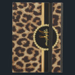 """Leopard Gold Bling Monogram iPad Air Case<br><div class=""""desc"""">Elegant faux leopard skin with beautiful black and gold name band. Chic and stylish fashion for sophisticated ladies, but trendy enough to impress the cool modern sassy girl on your gift list. Personalize this luxury style iPad folio case with her name, monogram initials, or custom text. Click Customize It to...</div>"""