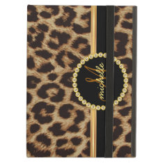 Leopard Gold Bling Monogram Ipad Air Case at Zazzle