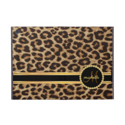 Leopard Gold Bling Monogram iPad Mini Case