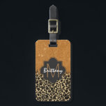 """Leopard &amp; Gold Faux Glitter Brushstroke Monogram Bag Tag<br><div class=""""desc"""">This cool and trendy leopard print with gold faux glitter brush stroke is perfect for the glamorous and glitzy lady. Just customize the cute design with your own personalized monogram name and initial!</div>"""
