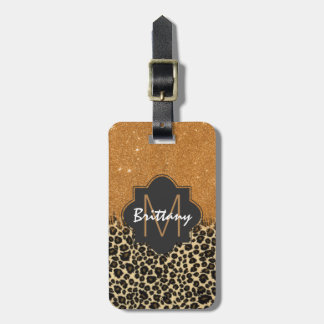 Leopard & Gold Faux Glitter Brushstroke Monogram Bag Tag