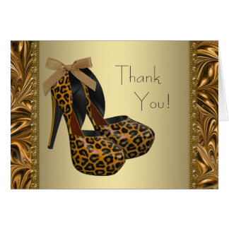Leopard Gold High Heel Shoes Thank You Cards