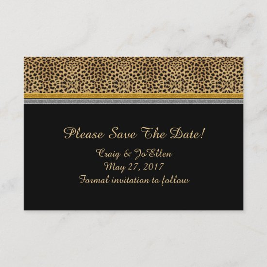 Leopard Gold Silver Save The Date
