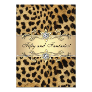 Leopard Gold Womans 50th Birthday Party Invite