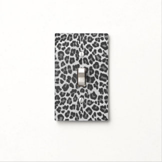 Leopard Gray and Light Gray Print Light Switch Cover