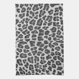Leopard Gray and Light Gray Print Towel