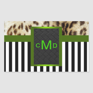 Leopard Green Black & White Stripes Monogram Seal Rectangular Sticker