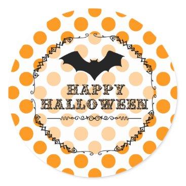 Halloween Themed Leopard Happy Halloween Bat Classic Round Sticker