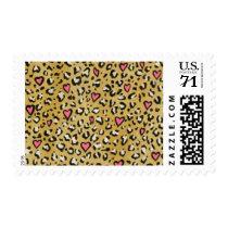Leopard heart / leopard animal print pink heart postage