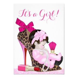 Leopard High Heel Shoe Girly Baby Shower Card
